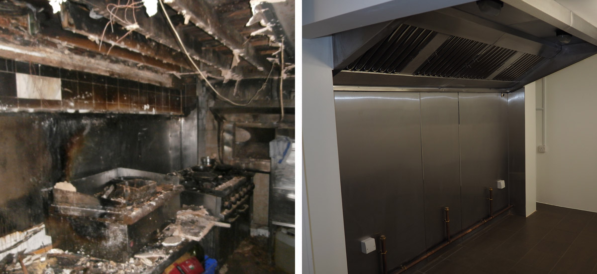 Fire Damage before & after
