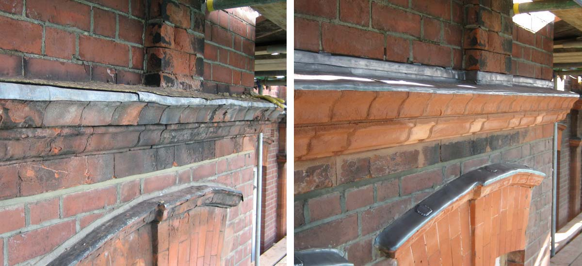 Left: Weathered and aged arch and corbel detail. Right: Reconstructed arch and corbel, with new lead flashings.