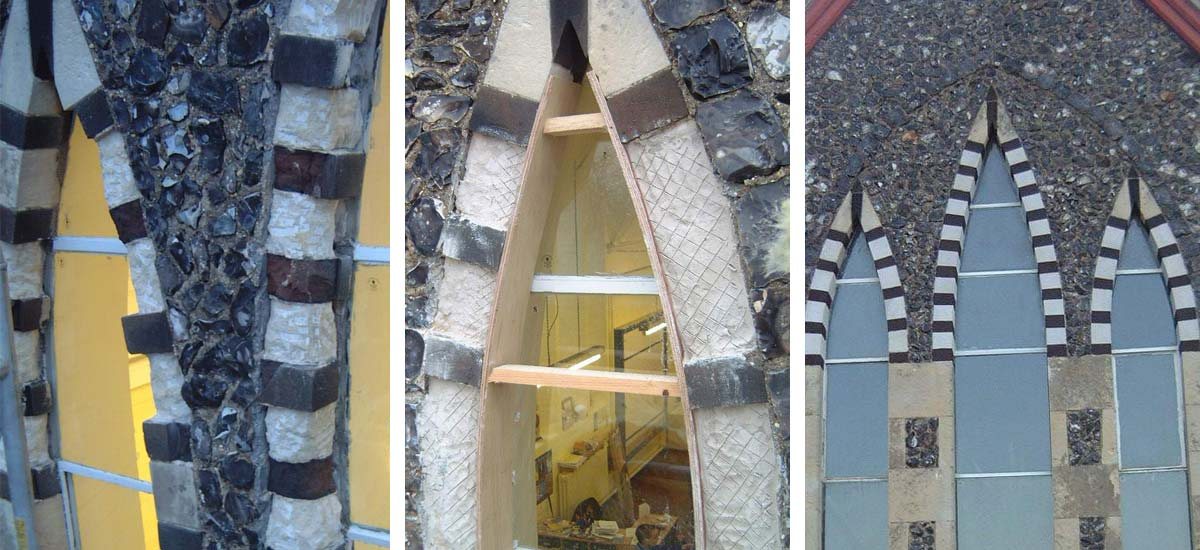 Left: Damaged decorative stonework / Centre: During repair / Right: Repaired stonework
