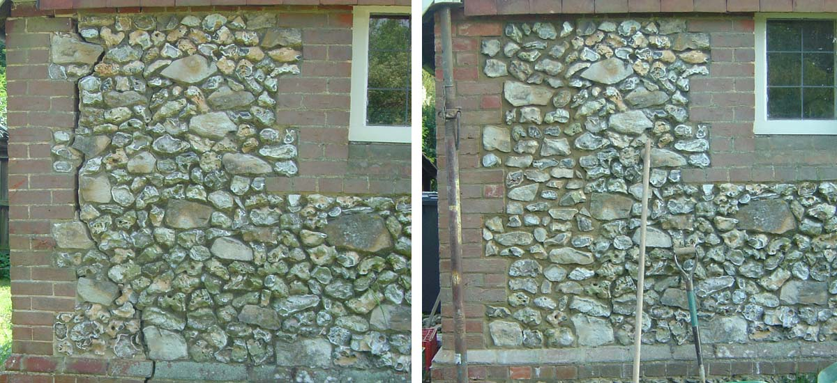 Left: Damaged masonry prior to repair / Right: Completed crack repair.