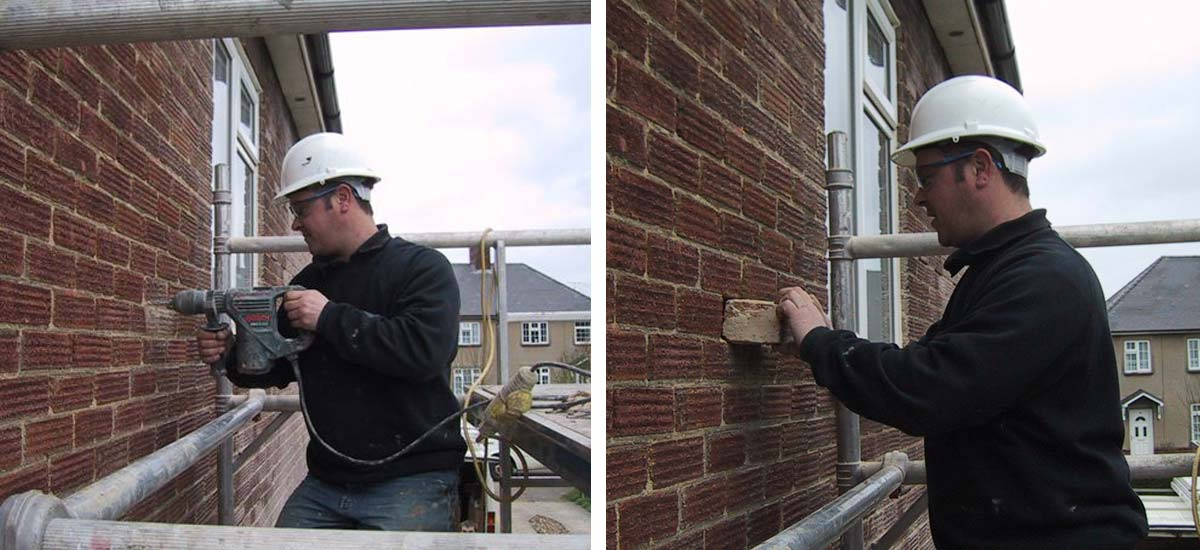 Left: Stitch Drilling / Right: Brick Removal